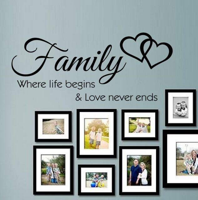 Wall Quotes Family where life begins Vinyl Sticker Art Mural Home Decal SVIL06