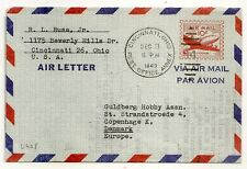 AIR LETTER USA TO DENMARK. CINCINNATI OHIO 1949. L408