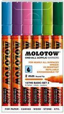 MOLOTOW ONE 4 ALL 127HS - 2MM NIB PAINT PEN SET, BASIC SET 2 - 6 MARKERS