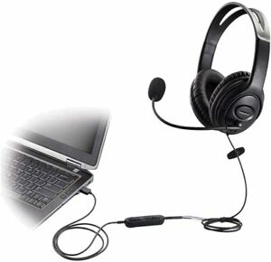 BNIB-USB-Headset-Headphone-with-microphone-voice-recognition-volume-controller