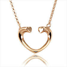 18K 18CT Rose Gold Plated Open Heart Pendant Short Chain Necklace 16""