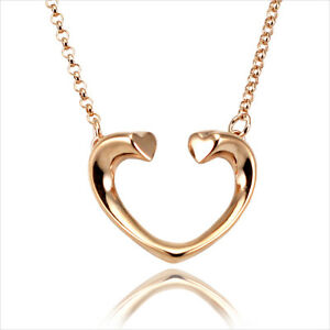 18K-18CT-Rose-Gold-Plated-Open-Heart-Pendant-Short-Chain-Necklace-16-034