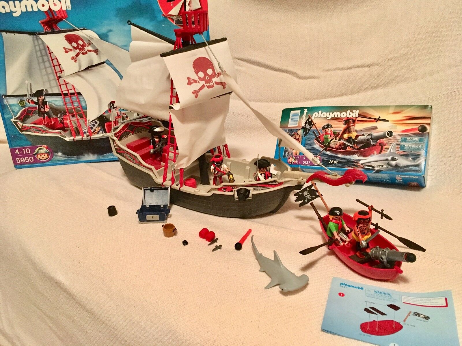 Playmobil Pirate Skull Bones Ship Toy Set 5950 Discontinued w  5137 Boat Extra