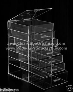 Acrylic-Lucite-Clear-Cube-Makeup-Organizer-The-Kardashians-Display-6-plus-lid