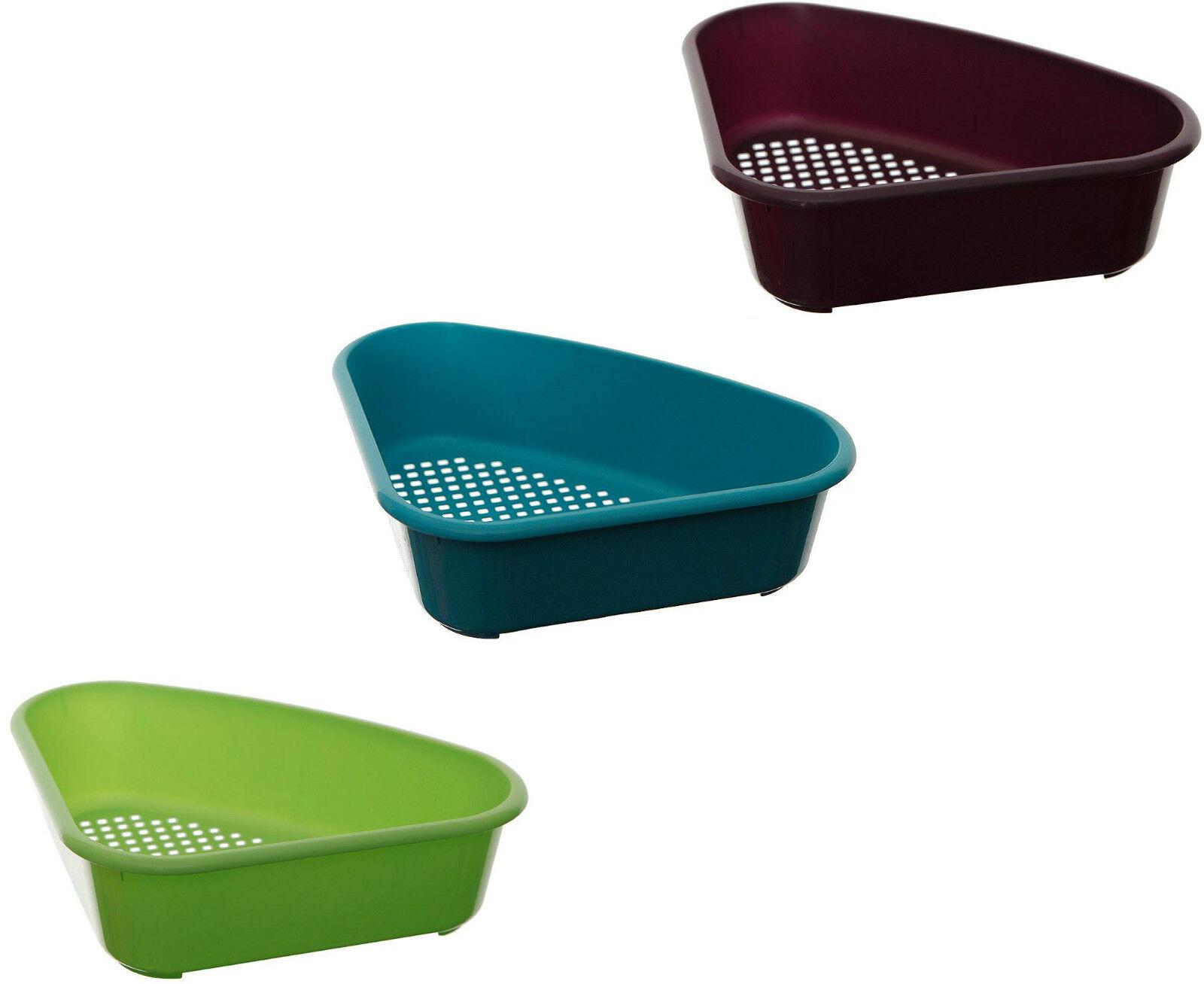 Details about Small Corner Sink Tidy Plastic Triangular Organiser Drainer Kitchen Bath Caddy