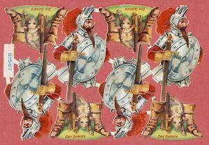 antiker-Oblatenbogen-Don-Quixote-Maerchen-L-amp-B-31567-DIE-CUT-SCRAPS