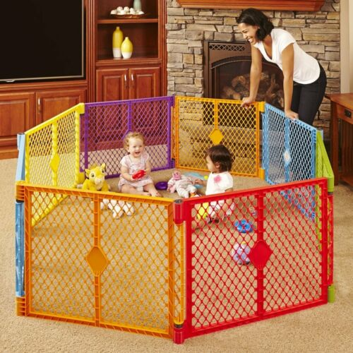 """8 Panel Colored Play Yard Gate Kids Outdoor Safety Fence Playground Playpen 26/"""""""