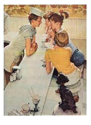 "Norman Rockwell print /""THE SODA FOUNTAIN/"" 11x15/"" dog drugstore Soda jerk"