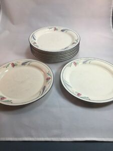 Lot-Of-9-Lenox-Poppies-On-Blue-Small-Salad-Plates-Poor-Condition-Retired-Pattern