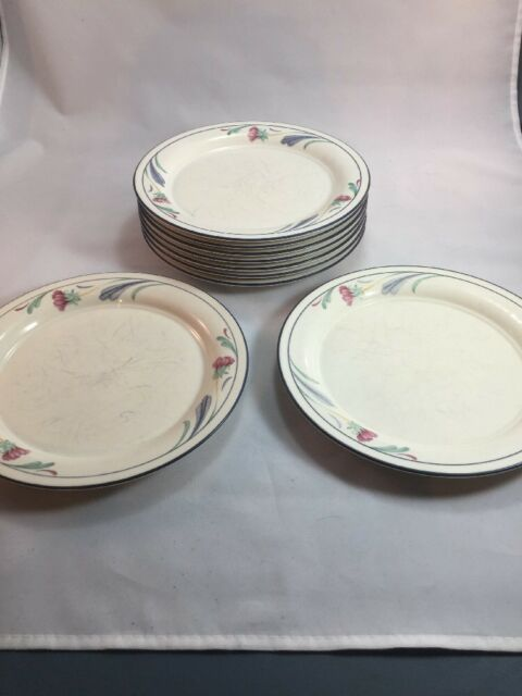 Lot Of 9 Lenox Poppies On Blue Small Salad Plates Poor Condition Retired Pattern