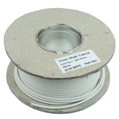 1 mm Bianco Parete Sottile Filo Cavo 32//0.2mm 50 m Con Mulinello 16.5 A