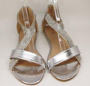 Brautschuhe Abend Sandalen Sandaletten Flach Mit Steinchen Silber