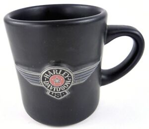 Harley-Davidson-FAT-BOY-Series-Raised-Wings-Logo-Matte-Black-Coffee-Cup-Mug