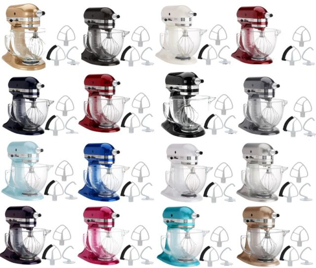 KitchenAid Stand Mixer KSM154GB 5-Qt W/Glass Bowl+Flex Edge Beater Several  Color