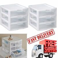 Plastic Storage Drawers 2pc Clear Rack Container Sterilite Cabinet Organizer