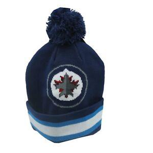Winnipeg-Jets-NHL-Reebok-Youth-Boys-8-20-Cuffed-Pom-Knit-Winter-Beanie-New