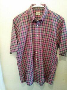 Gitman-Bros-Vintage-Men-Button-Shirt-Size-L-Plaid-Short-Sleeve-Made-In-USA