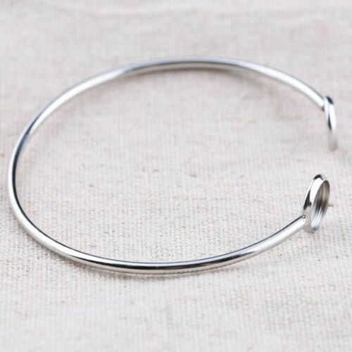 5PCS Cuff Bracelet Bangle Base Stainless Steel 8mm Cabochon DIY Jewelry Makings