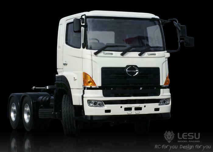 LESU 1 14 Hágalo usted mismo TAMIYA Hino 700 64 RC camión de remolque de tractor Radio Chasis de Metal