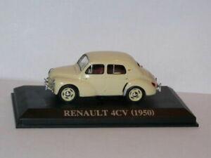 VA13F-voiture-1-43-IXO-Altaya-renault-4-CV-1950-creme-boite-vitrine