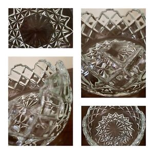 Cut Glass Fruit Bowl Trifle Bowl Diamond Cut Decorative Vintage/victorian