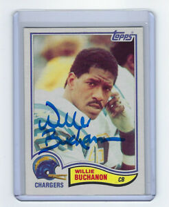 1982-CHARGERS-Willie-Buchanon-signed-card-Topps-227-AUTO-Autographed-Packers