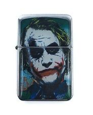 Lighter Joker Batman Design Silver Refillable Windproof Oil Petrol FlipTop Smile