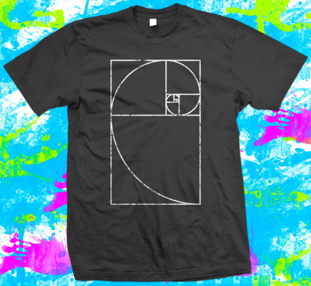Fibonacci Spiral Mathematics Geek - T Shirt -  6 colour options - Small to 3XL -