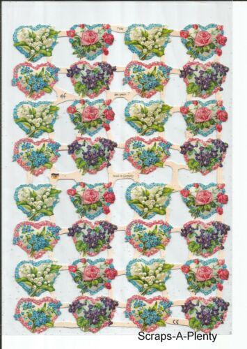 Valentine Sparkling Flower Hearts  EF7132G German Embossed GLITTER Scrap Die Cu