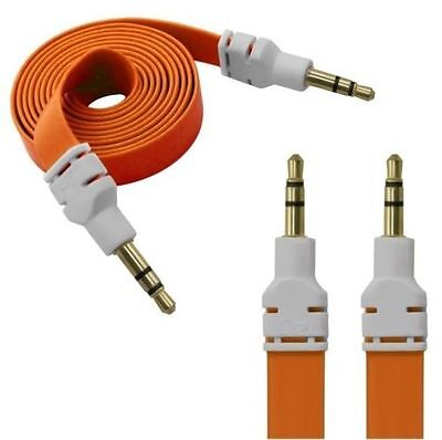 3.5MM MALE TO MALE FLAT NOODLE AUDIO EXTENSION AUX CABLE CAR PC iPHONE IPOD iPAD