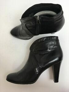 WOMENS-JOHN-GARFIELD-BLACK-LEATHER-FAUX-FUR-LINED-HIGH-HEEL-ANKLE-BOOTS-UK-5