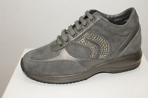 Sneakers Geox D Happy A Suede Strass grigio tipo Hogan Interactive
