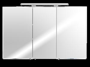 Details zu Spiegelschrank LED 110 Bad Spiegel 3-türig Weiss Badschrank  Badezimmer