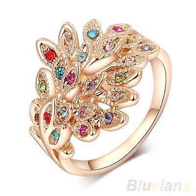 Women's Austrian Crystal 9K Gold Plated Dreamed Rhinestone Peacock Wedding Ring