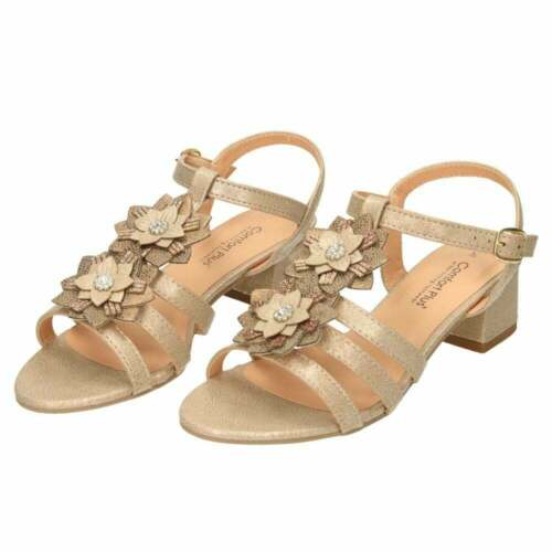 Comfort Plus Wide E Fit Slingback Low Heel Strappy Sandals Floral T-Bar Shoes
