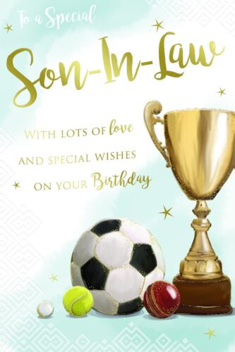 Son In Law Trophy Football Cricket /& Tennis Ball Design Happy Birthday Card