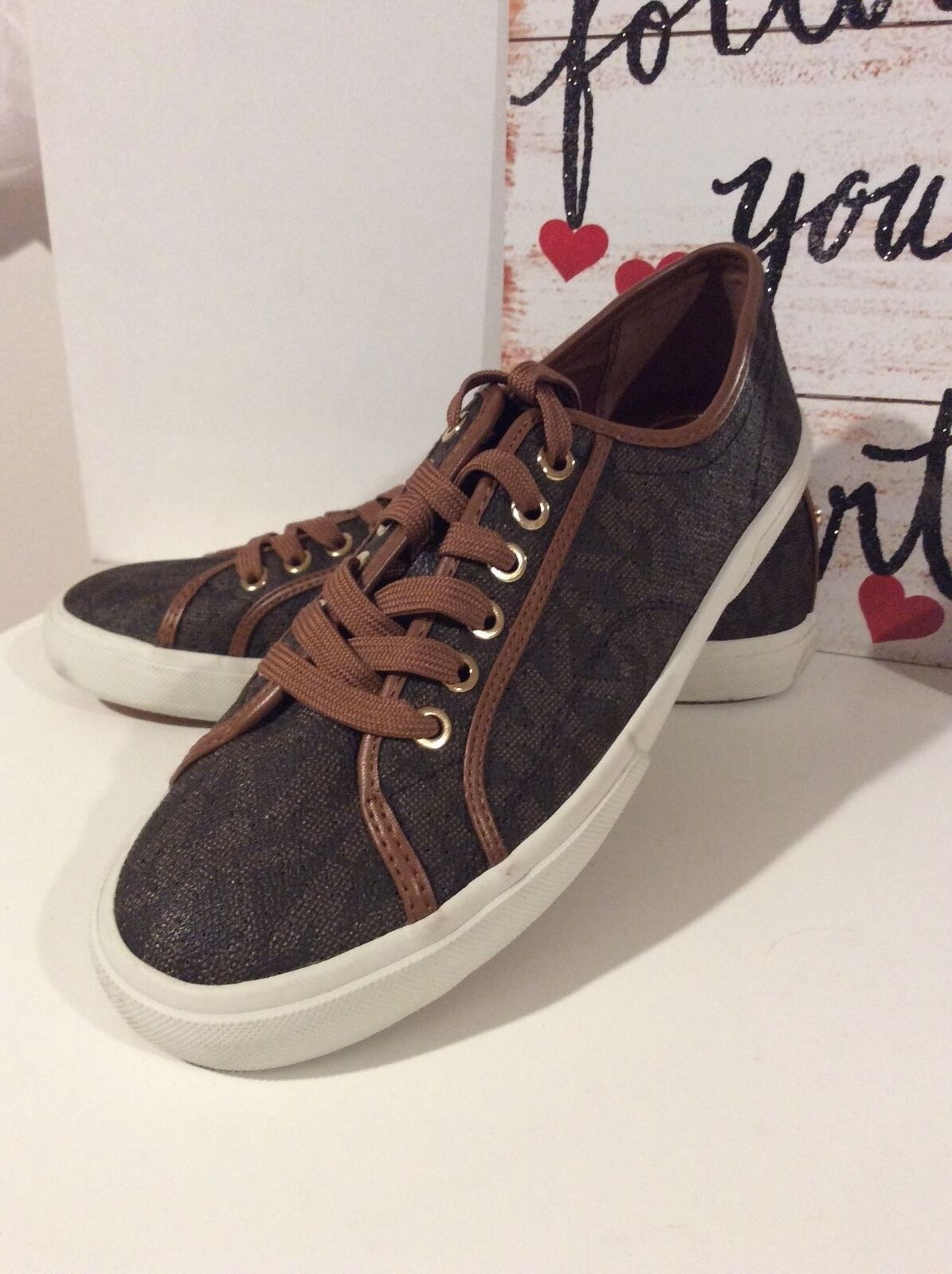 Michael Kors Signature Brown Logo Sneakers Size.8.5