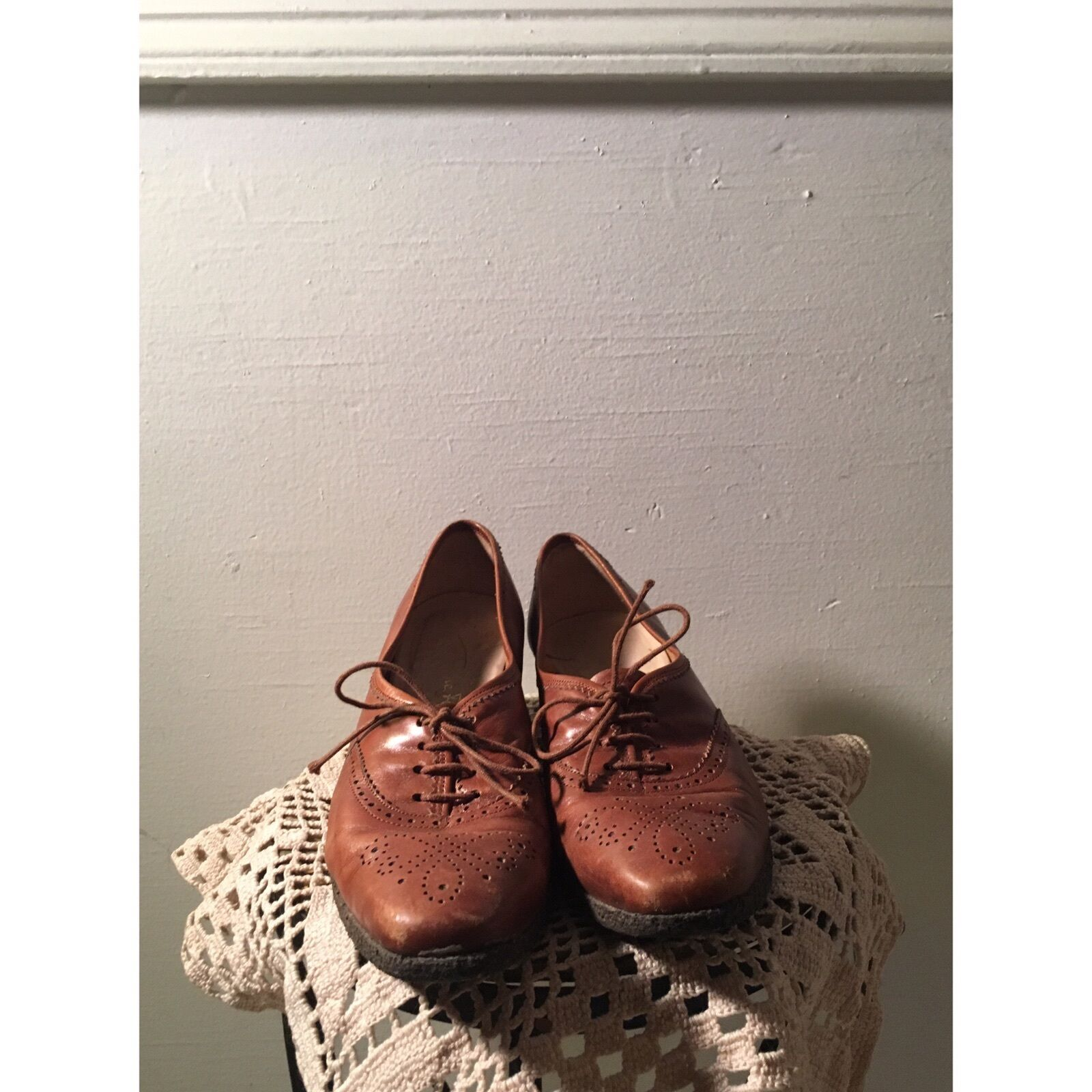 Italian Vtg Salvatore Ferragamo Sz 6.5 Oxford Lace-up braun Leather Stiefelie schuhe