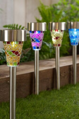 4 x Solar Powered Mosaic Stake Lights Stainless Steel Garden Border Lanterns New