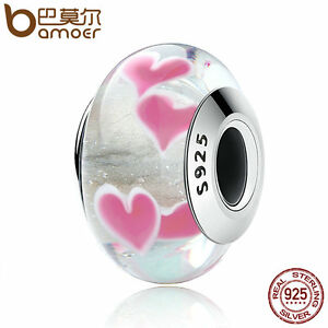 Bamoer-Authentic-925-Sterling-Silver-WILD-HEART-Murano-Bead-Fit-Bracelet-Jewelry