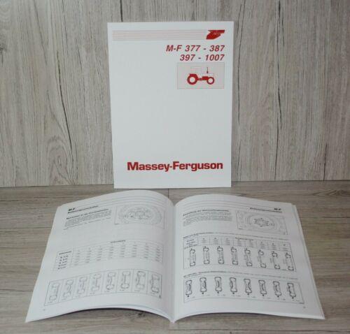 Bedienungsanleitung Betriebsanleitung  MF 377 387 397 1007 Massey Ferguson