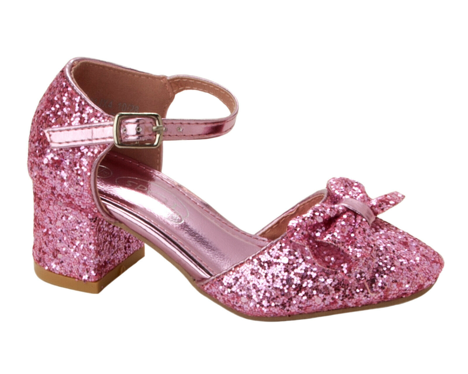 GIRLS PINK GLITTER DIAMANTE BRIDESMAID WEDDING PARTY DRESS SHOES UK SIZE 10-2