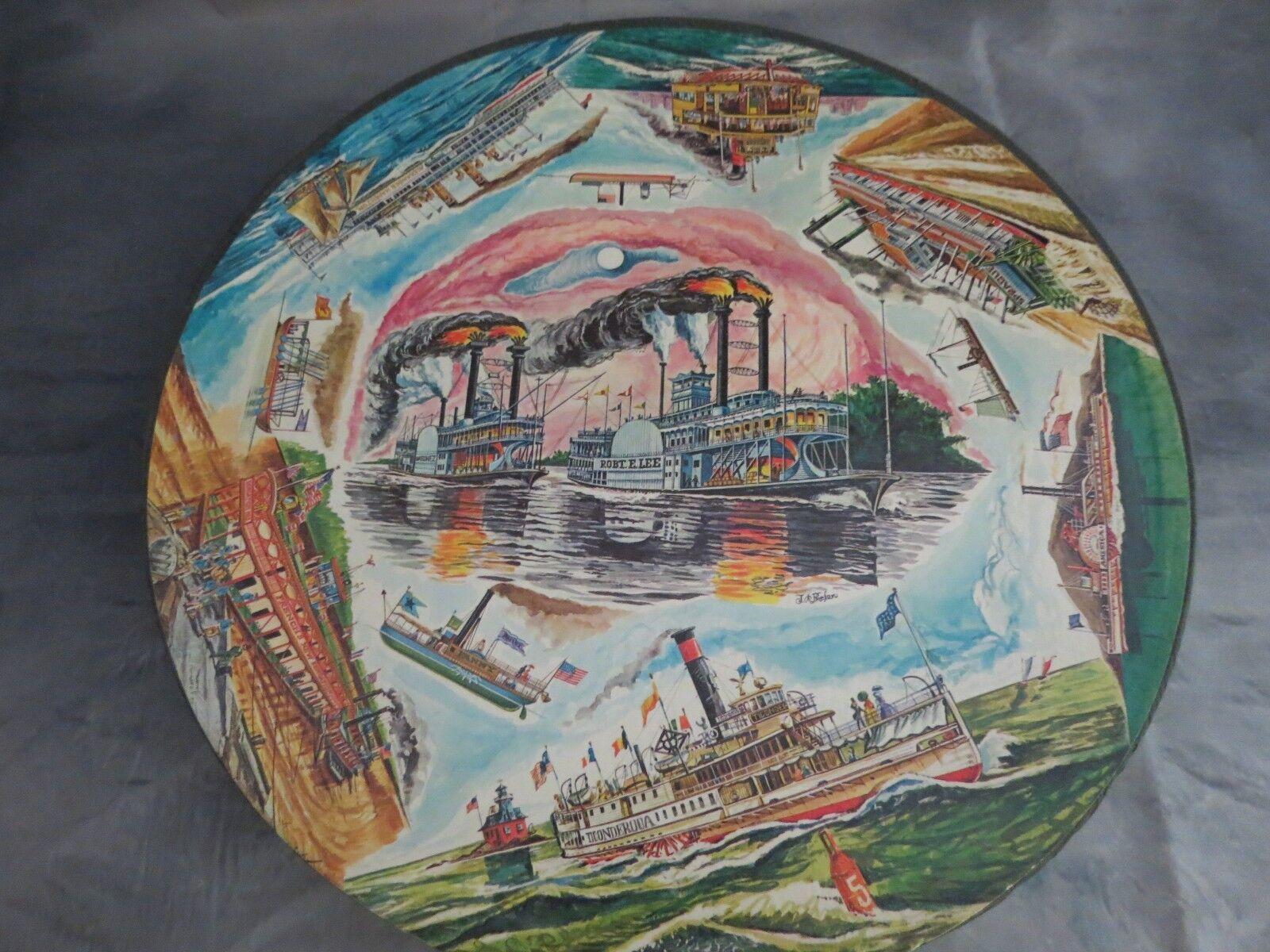 Vintage Springbok  Américain célèbre Steamboats  circulaire Jigsaw Puzzle complet