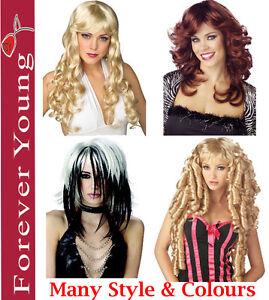 Ladies-Fancy-Dress-Costume-Wig-Long-Short-Scary-Halloween-Blonde-Black-Brown-Wig