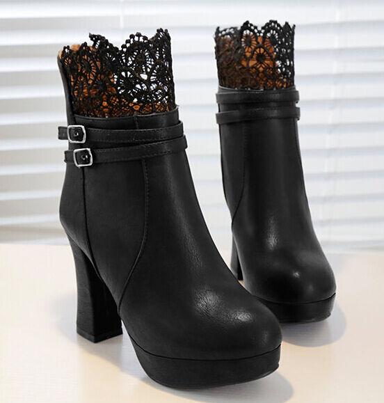 Stiefeletten Stiefel Schuhe Ferse 10 cm Spitze Leder Kunststoff Schwarz 9130