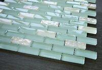 1/2 X 2 Brick Pattern Glass Tile; Color: Sky Blue & White Glass Tile