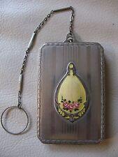 Antique Art Deco Silver T Yellow Guilloche 2 Lipstick Dance Compact MARATHON