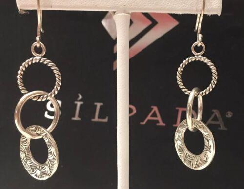 SILPADA W1616 'Triple Threat' Tri-Textured Sterling Silver Dangle Earrings~NIB
