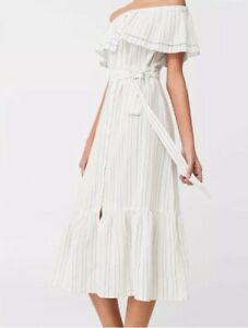 Details about Mango Dress Toscana NEW w tags size 2 XS MANGO off the shoulder dress cotton