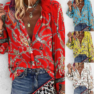 ⭐⭐⭐⭐⭐Women Long Sleeve Button V Neck Floral T Shirt Casual Blouse Loose Tops USA